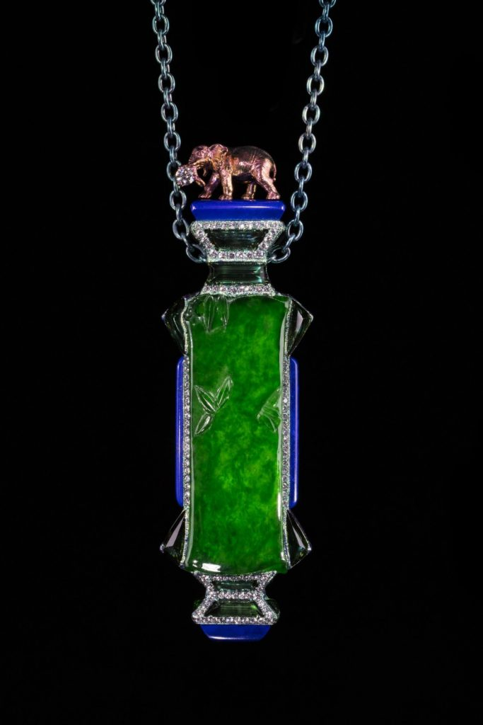 Joyous Elephant on Vase Necklace, featuring jadeite, green tourmaline, lapis lazuli and mother of pearl, WALLACE CHAN.