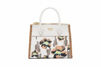 Retro flora presents an ode to the Seventies, worn best with heritage gingham suits.PRADA