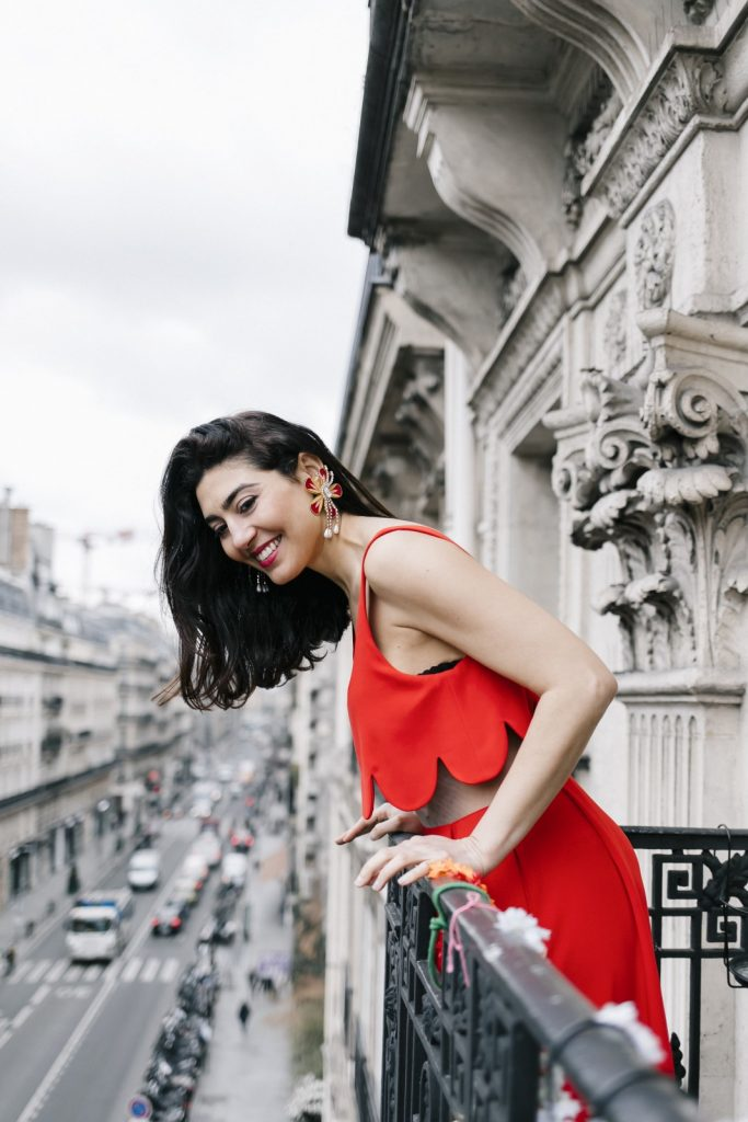 Taken from MOJEH 46, Shourouk Rhaiem is photographed on the balcony of her Parisian atelier wearing Zayan the Label