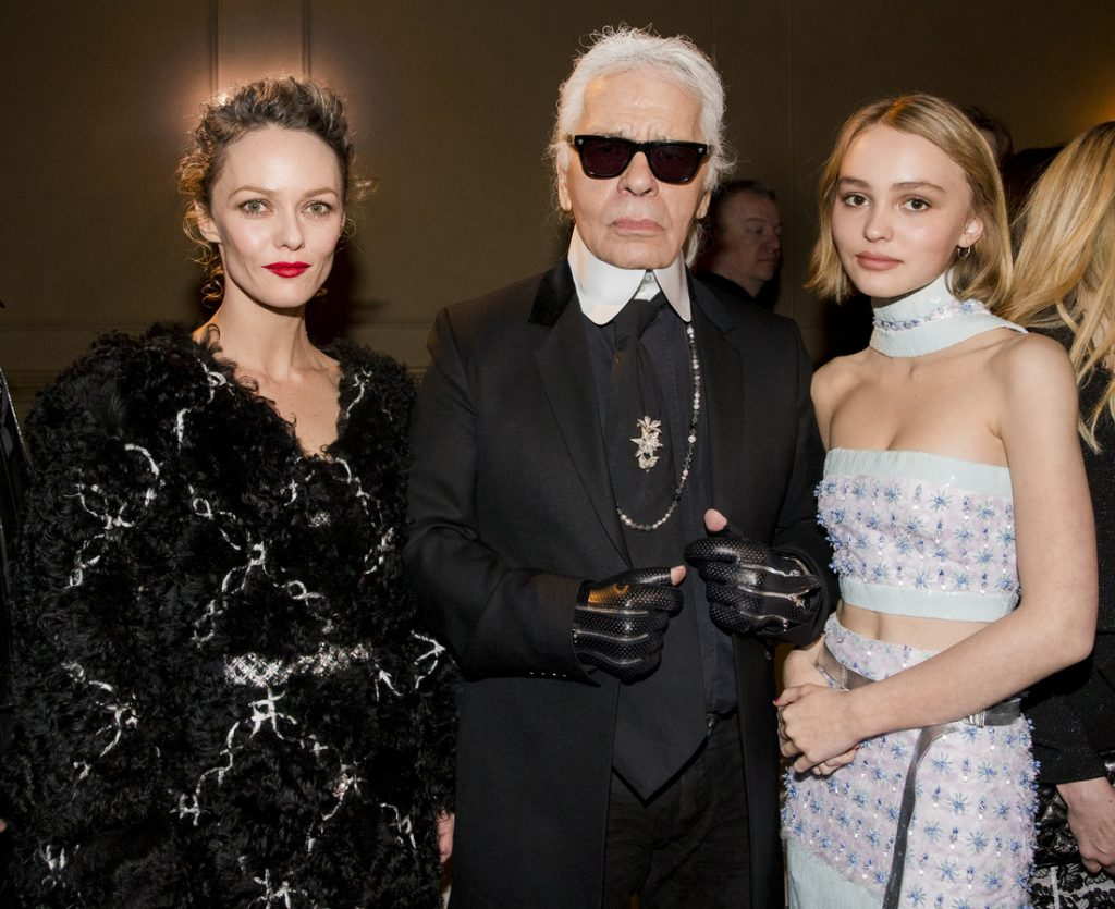 Vanessa Paradis, Karl Lagerfeld and Lily Rose Depp at Chanel Paris-salzburg 2014/15 Metiers D'art Collection, New York