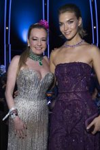 Chopard's co-president Caroline Scheufele poses with brunette beauty Arizona Muse who wears a deep purple strapless Elie Saab autumn/winter17 gown with the maison's jewels.