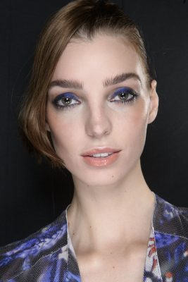 The Eye | Brides who prefer a stand out look will love Giorgio Armani's hearty dose of colour. Not one for the faint hearted, shimmering navy-blue shadow is worn with jet-black eyeliner and a dark mascara. The brand's makeup artist Linda Cantello recommends keeping brows unkempt for added impact.