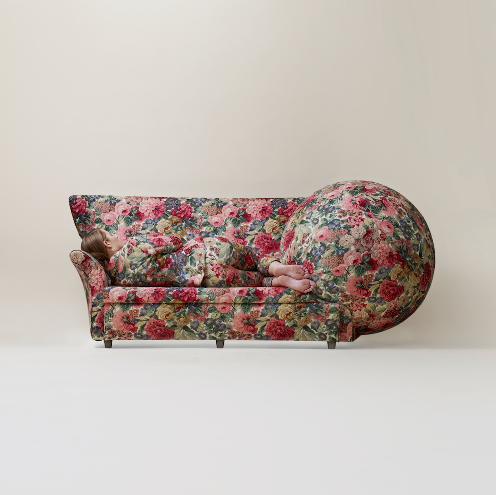 Saunders works across a wide range of materials and art forms. Patterns of Desire, 2012. Sofa, sphere, suit. Courtesy of Jim Nau