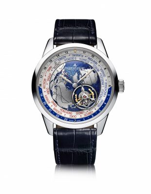 The Watch: Geophysic Tourbillon Universal Time, Jaeger-LeCoultre    A gaze down onto the earth from the heavens, the platinum Geophysic Tourbillon Universal Time features an orbital flying tourbillon, which draws the map of the world into eternal movement. Drawing together the seven continents in an elaborately detailed dial, a revolving disc of satin-brushed, dark blue guillochéd oceans makes a 24-hour circuit. The platinum case is water resistant and features an sapphire case back.