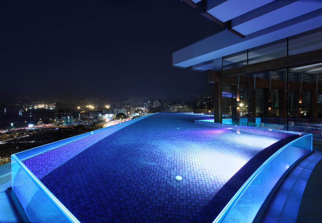 The Indigo infinity pool offers one of Beirut's most breathtaking views. Le Gray, Beirut