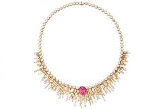 The Necklace: Sunny Side of Life, Piaget  Taking its cues from the rays of the sun and the celebratory spirit of playful Palm Springs, the collection shines a light on life's joyous moments. This pink gold necklace boasts one pink spinel from Myanmar, alongside 254 brilliant-cut diamonds and 52 marquise-cut diamonds. A beautiful creation, it recalls California's fans of light that beam down upon poolside bliss.