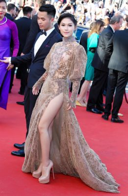Ngọc Thanh Tâm | The Vietnamese actress wore a dramatic couture dress by Galia Lahav to the screening of Arnaud Despelechin's Les Fantômes d'Ismaël. A modest high-neck was worn with a seductive thigh-high slit.