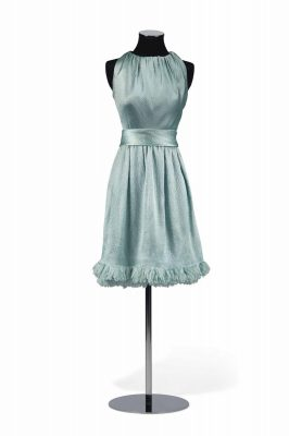Blue satin Givenchy cocktail dress given to Hepburn by the illustrious fashion designer.