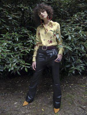 Shirt, VANLENTINO   trousers, LOUIS VUITTON   belt, MIU MIU   shoes, MISSONI   earrings, MARN