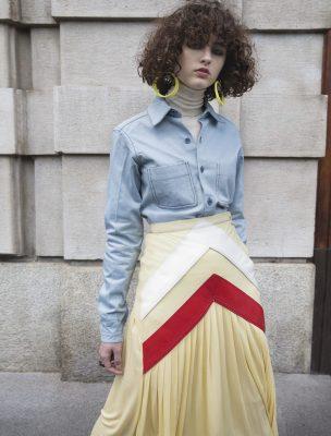 Skirt, FABIO QUARANTA   tops, CÉLINE   earrings, MARNI   rings, VERNISSAGE ILENIA CORTI