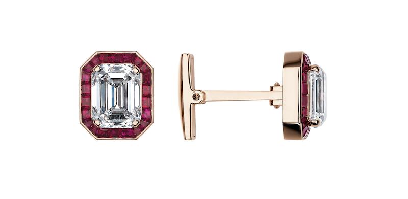 Pigeon Blood: Cufflinks, 24.40-carat ruby and 18-karat rose gold.