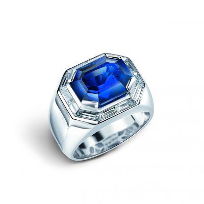 Royal Burmese Facets: Ring, 18.45-carat sapphire, 18.53-carat diamond and 18-karat white gold