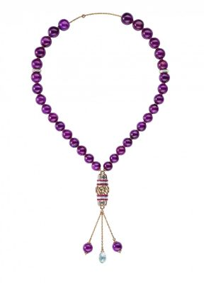 Siamese Pure Red: Prayer beads, 18-karat white and rose gold with 353.61-carat rubies and 14.71-carat diamonds.
