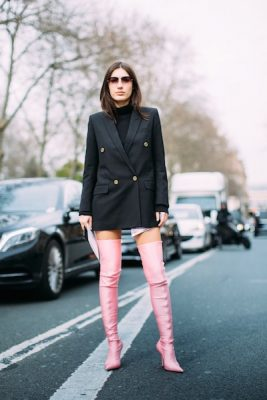 Show Stoppers: They may not be everyone's cup of tea but the thigh-high spandex boots by Balenciaga are a sure way to get noticed by street style photographers and just about everyone else. Look to softer shades as opposed to neon colours to redefine haute glamour