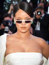 There's a distinct Eighties feel to these tiny shades worn by Rihanna at Cannes.