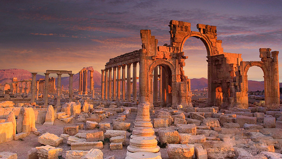 Looted treasures from the ancient city of Palmyra in Syria, pictured, which was captured by the so-called Islamic State