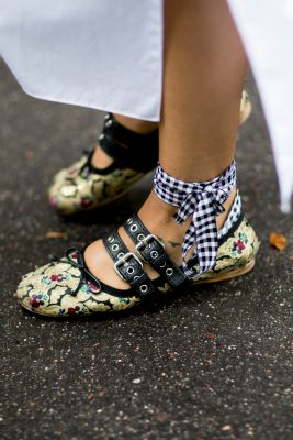 Mixed prints and patterns bring vibrance to footwear. Wear with simple silhouettes and colours to allow them to have maximum impact.