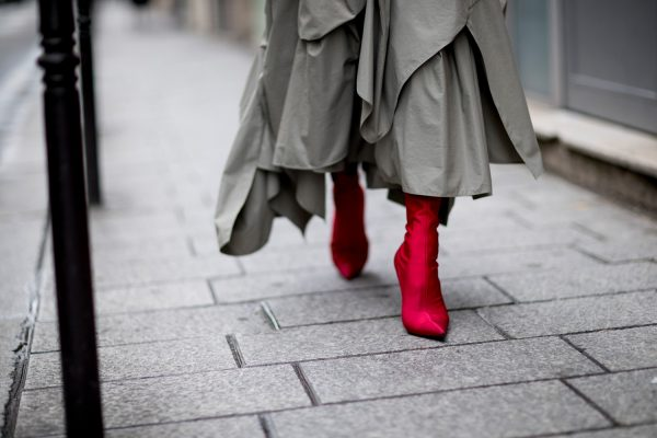 Rich red boots make a serious sartorial statement and can be worn with both block colours or prints.