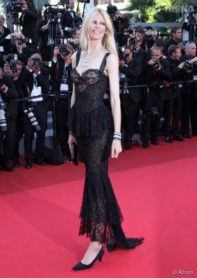 2011: Never one to miss a good party, Schiffer opts for a tantalisingly-sheer black bodice gown for the Cannes Film Festival in France.