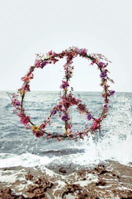 A peace sign made from flowers. © Petrovsky & Ramone