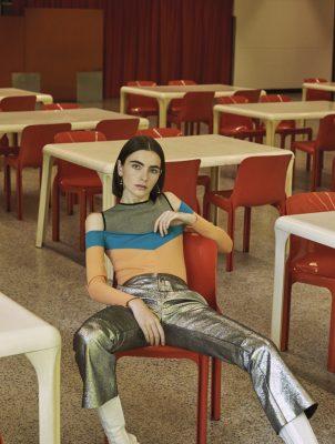 Top, VERSUS VERSACE | trousers, DROME | boots, KENZO | earrings, SPORTMAX