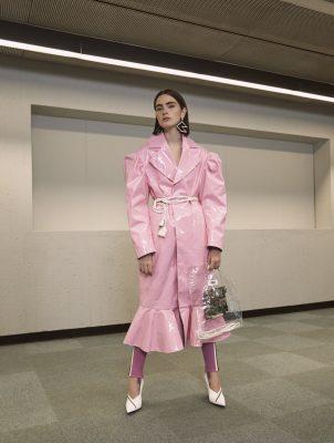 Coat, ANNAKIKI | leggings, GUCCI | shoes, MICHAEL KORS COLLECTION | earrings, VERSUS VERSACE | belt, stylist's own | bag, MM6