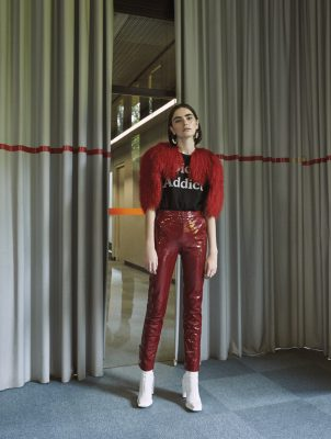 Jacket and T-shirt, DIOR | pants, MUGLER | boots, KENZO | earrings, SPORTMAX