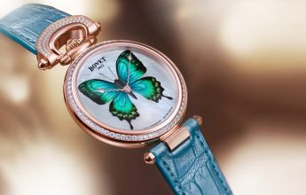 Bovet unveils an innovative technique that brings a new dimension to the decorative arts with its Château de Môtiers 40 model. The red gold watch features a bow and bezel set with 109 diamonds, while a mother-of-pearl dial boasts a miniature 'butterfly' in sky-blue, charcoal-black and neon-green.