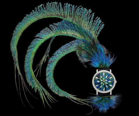 Piaget's Altiplano Feather Marquetry boasts a calfskin strap and 78 diamonds that are set on a white gold structure. Unveiled at SIHH 2017, this novelty boasts several majestic peacock feathers, which form a spectacular blue and green plumage that come together to form the perfect optical illusion