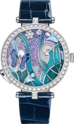 Mother nature inspired Van Cleef & Arpels' diamond-studded Lady Arpels Papillon Automate. The latest complication features an elegant lake-blue and lavender hued butterfly in motion, a feat accomplished by an extraordinarily complicated mechanical calibre.