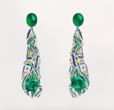 Chaumet's stunning pendant earrings from the decadent Pastorale Anglaise collection combine crystal-clear emeralds with shocking doses of sunshine-yellow, burnt-pink and royal-blue.