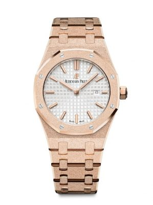 The Frosted Gold Royal Oak timepiece by Audemars Piguet was unveiled to celebrate the brand's 40th anniversary. An ancient Florentine gold hammering jewellery technique achieves the shimmering 18-carat pink gold finish.
