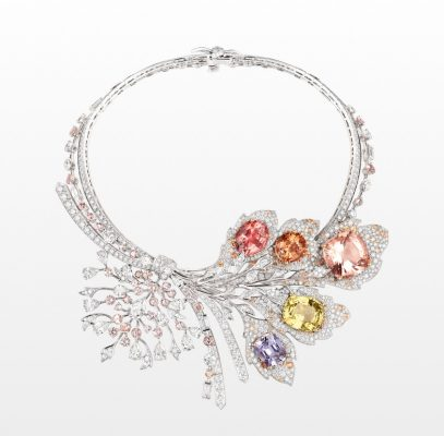 A precious and ultra-feminine piece by the house of Chaumet, this necklace's extravagant floral and leaf motif arouses memories of ageing French woodlands and bronzing trees.
