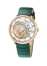 A moss-hued bracelet brings a warming element of fall to Faberge's peacock-patterned timepiece. As opulent as it is noticeable, the illustrious brand's Lady Compliquée Peacock Emerald is luxury to be desired.