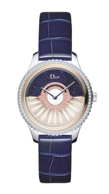Dior's use of dark and dramatic colours adds a real sense of glitz and glamour in the form of the fashion house's Dior VIII Grand Bal Plume Cadran Aventurine timepiece.