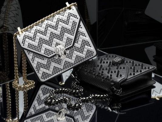 """""""Although we're both very different brands, our respective work has an architectural kind of quality to it. I took the iconic Serpenti and made it lighter and more aerodynamic and I also straightened up the edges of the bag and designed the flap around a geometric jewellery piece I found in the archives."""