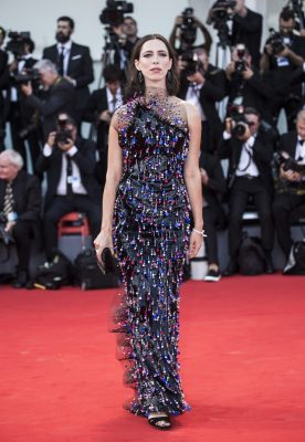Rebecca Hall arrives for the opening ceremony of the 74th Venice Film Festival and the premiere of the movie Downsizing donning a Giorgio Armani Privé gown