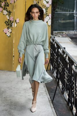 Adeam: Hanako Maeda's runway was awash with beautifully sheer shades of pink, rich inky-blue tones and smatterings of grey and pistachio that lent a feeling a lightness to the languid, breezy silhouettes that made up the collection.