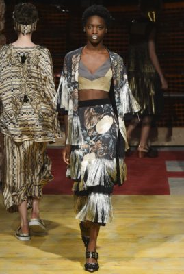 Antonio Marras: Mr. Marras played to his strengths, mixing prints and mediums for Spring 2018. Beautiful maxi dresses with plisse pleats came down the runway alongside, parkas, lace skirts, oversized Tees and coordinating suits in an array of grey, khaki green, serene yellow and black.