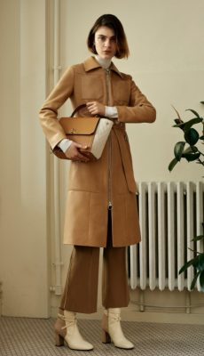 Bally: Retro glam and subtle femininity were the two key themes evident in Bally's 10 look spring/summer18 presentation. There was a hint of vintage Wes Anderson to the dusty pink fur coats and ponchos which contrasted nicely against the sleek tan leather coats and shearling jackets.