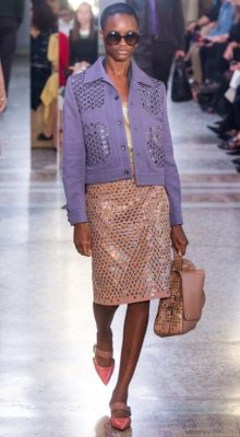 Bottega Veneta: Tomas Maier looked to colour and embellishment to bring his designs to life this season. The colour came in the form of soft lilacs, sweet shades of peach and blush while the embellishment aspect was added through jeweled stones, studs and eyelets. A more animated showing than previous seasons, there was plenty to covet for young and old fans of the house.