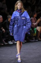 Fenty X Puma: Rihanna flexed some streetwear muscle showing a collection heavy with motocross, surf and skate references. Incorporating head-to-toe tonal looks in shades of blue, purple, orange, white and green the pieces ranged from French-cut swimsuits and scuba suits to athletic parkas and biker-style trousers.