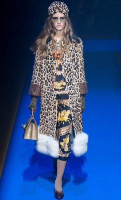 Gucci: Alessandro Michele continued his love affair with days of old sending out a collection heavy with Eighties references. Lurid colours, power shoulders, miniskirts and heavy dustings of sequins pushed the agenda as did the heavy smatterings of accessories accompanying each look.