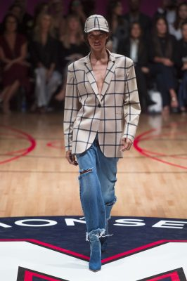 Monse: Laura Kim and Fernando Garcia took their label in a new direction by exploring collegiate uniforms. This resulted in a series of striped skirts, athleisure-style jumpers, bomber jackets and deconstructed basketball singlets.