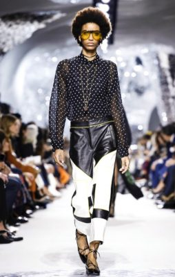 The Print | Tactile textures and clever contrasts saw pressed silk patterns layered against leather trousers and bold PVC. Colour co-ordinated, monochrome shades keep looks grounded and sophisticated, while feather-like fabrics are worn with soft athleisure vibes.