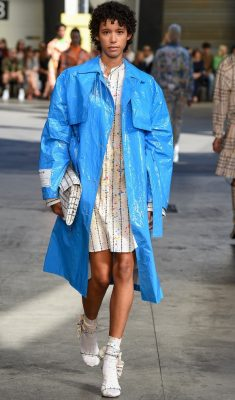 MSGM: Massimo Giorgetti embraced summer brights, cleverly tempering them with shades of beige, white and khaki. His talent for creating super cool streetwear pieces shone through which is sure to please his young clientele.