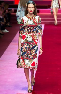 Dolce&Gabbana: Domenico Dolce and Stefano Gabbana's 'Queen of Hearts' collection explored love in its many forms which resulted in many heart motifs as well as plenty of the sheer lingerie-style dresses that have become synonymous with the brand.