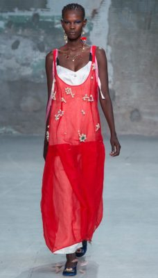 Marni: Francesco Risso saw English gardens through Tim Burton's eyes for spring/summer18 which resulted in garments emblazoned with large-scale floral blooms, pretty appliqué flowers and sweet confectionery coloured furs