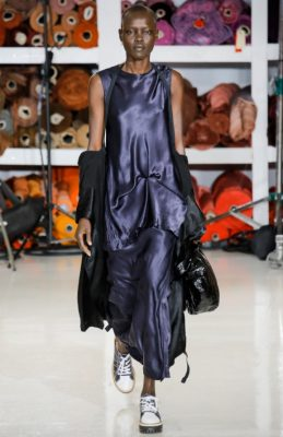 Sies Marjan: Sander Lak's fourth show built upon his strong colour and draping foundations. The young designer sent out plenty of beautifully light, floaty dresses that will bring much needed colour and convenience to any summer wardrobe.