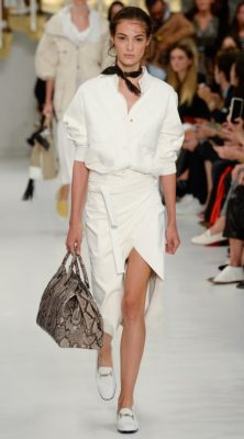 Tod's: There's a timeless effortlessness that's become synonymous with the Tod's brand that was evident for all to see in their latest show. An ode to Italian summers, the collection consisted of super chic shorts, cropped parkas and shirt dresses cut from leather and cotton. Incredibly wearable and elegant these are definitely buy now, wear forever pieces.